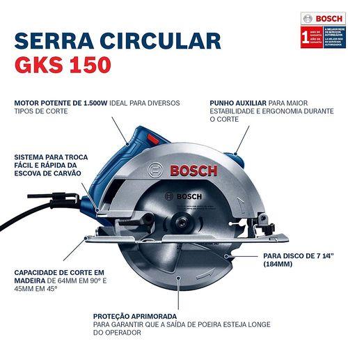 Serra-Circular-7.1-4--Pol.-1500w-GSK150---1-Disco-de-Serra---BOSCH-