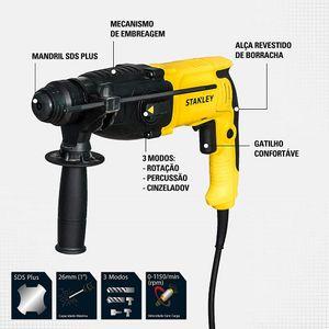 Martelete-Perfurador-Rompedor-SDS-Plus-800W-2.4J-com-Ponteiro-e-6-Brocas---STANLEY-